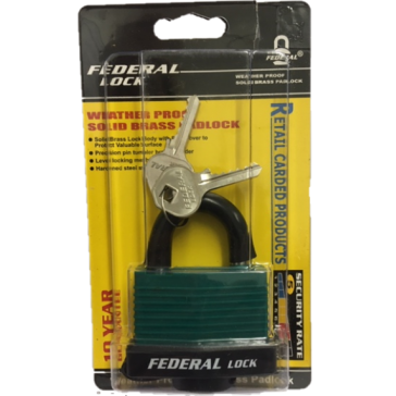FEDERAL BW WEATHER PROOF PADLOCKS GREEN