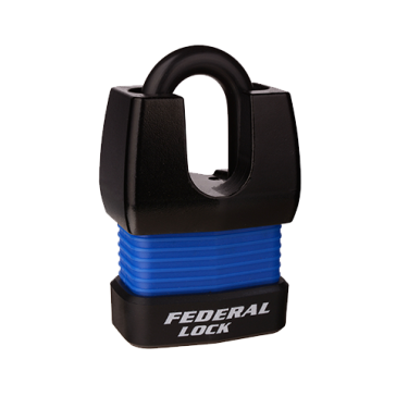 FEDERAL WEATHERPROOF CLOSED SHACKLE PADLOCK 803WNP 55mm ASSORTED COLOURS