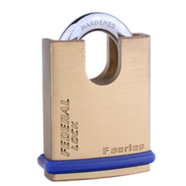 FEDERAL SOLID BRASS CLOSED SHACKLE PADLOCKS, 3 SIZES, FD40P, FD50P & FD60P