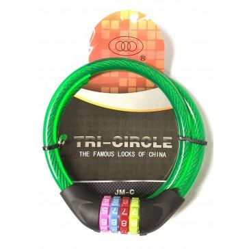 TRI CIRCLE JM-C 12MM X 900MM COMBI CABLE LOCK - COLOURED DIAL
