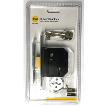 "YALE ESSENTIAL 3 LEVER DEADLOCK 2.5"" CHROME YES-DL-CH-64"