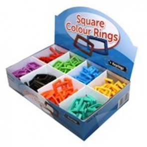 KEY BOW RINGS - LARGE SQUARE - ASSORTED COLOURS