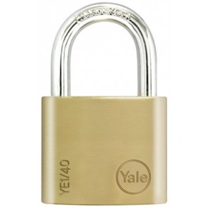 YALE ESSENTIAL 40MM PADLOCK BRASS TWIN PACK YE1/40/122/2