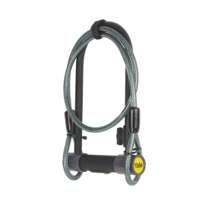YALE YUL2C/13/230/1 BIKE D-LOCK WITH CABLE SOLD SECURE SILVER